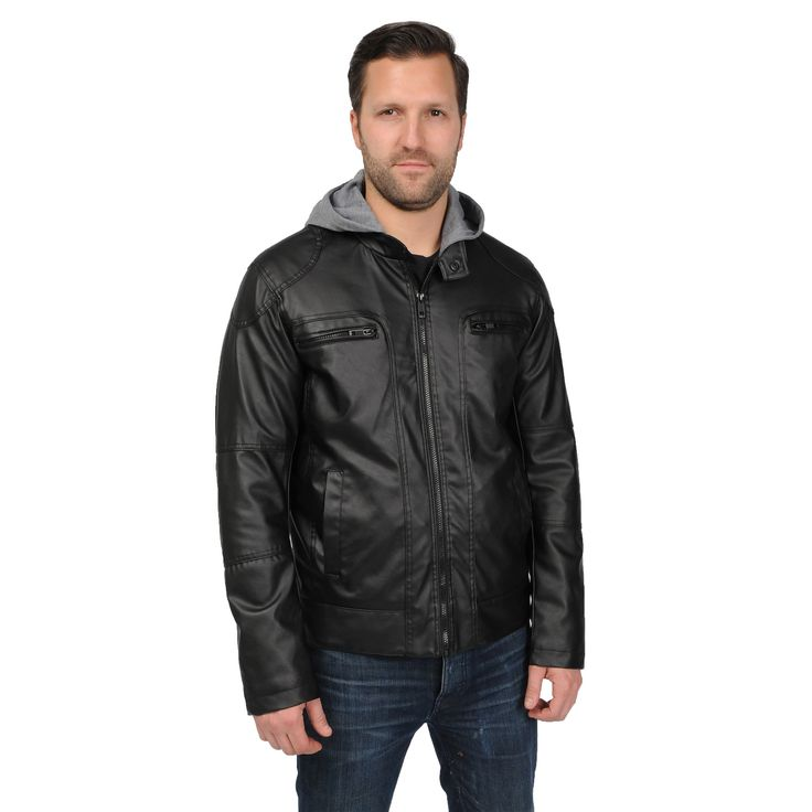 EXcelled Men's Motorcycle Jacket with Attached Hood