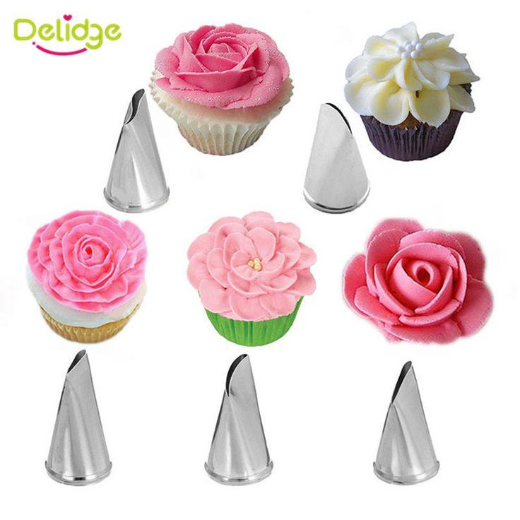 Delidge 5 Teile/satz Rose Blütenblatt Metall Creme Tipps Kuchen Dekorieren Tools Icing Friedliche Düsen Kuchen Sahne Verzieren Cupcake Werkzeuge