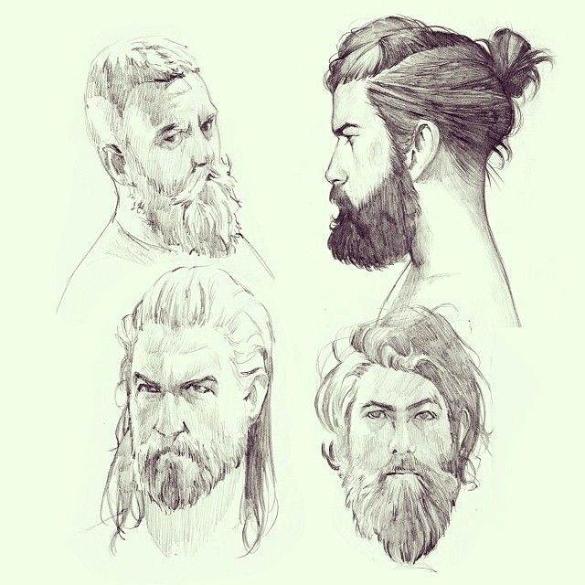 .@Manequim | Sketching while working on some bigger project :) Bearded men again #sketch #... | Webstagram