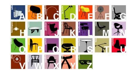 Joel at Blue Ant Studio: alphabet for kids using iconic mid century modern furniture