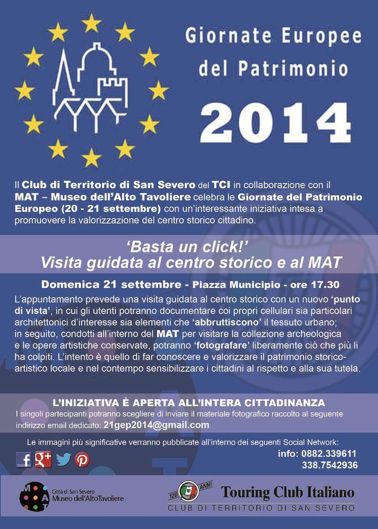 """Locandina GIORNATE EUROPEE DEL PATRIMONIO 2014 - """"'Basta un click!'. Visita guidata al centro storico e al MAT"""" (21 settembre 2014)"""