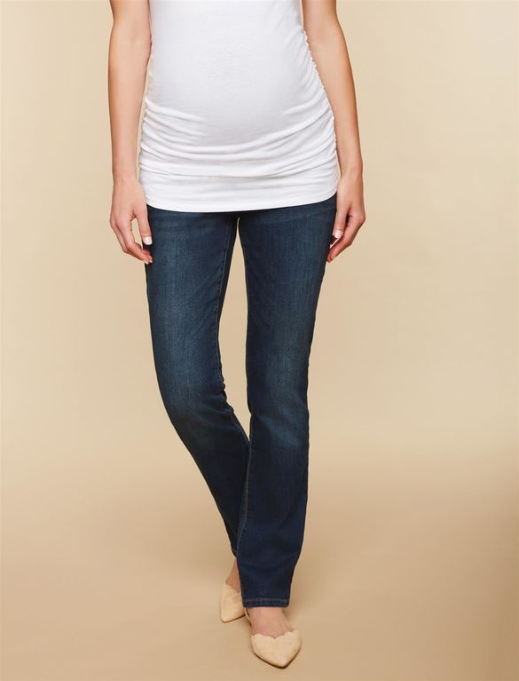 8046d492cc6c5 Petite Secret Fit Belly Stretch Straight Leg Maternity Jeans, Dark Wash