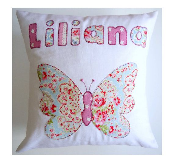 PERSONALISED BUTTERFLY CUSHION pillow Girls applique bedroom nursery baby christening birthday gift  Made using Cath Kidston fabrics