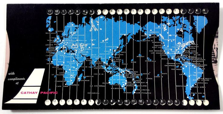 1960's CATHAY PACIFIC World Time Zone Currency Converter & Calendar Sliding Card