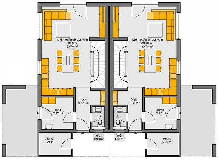 Fertighaus Doppelhaus Gemello SD 136 Grundriss EG