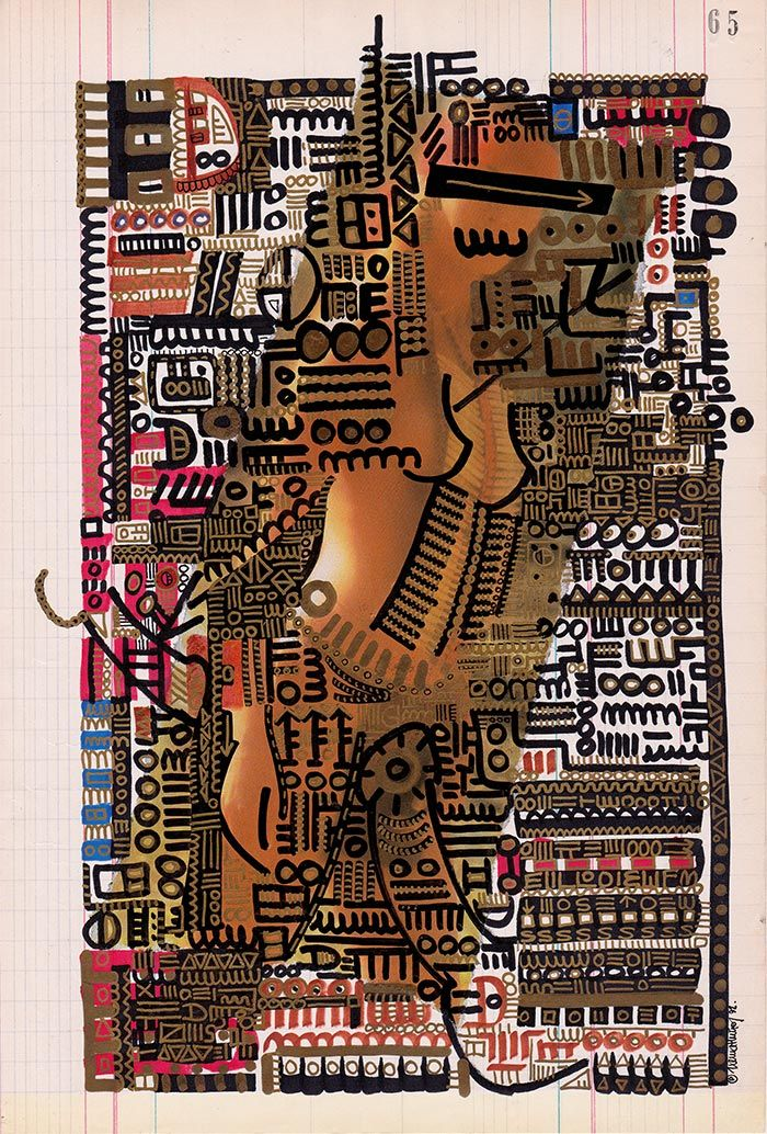 65 The Enigma of Desire - Codex design drawing over collage - 20,9 x 30,8 cm. ©1992 Txema Muñoz