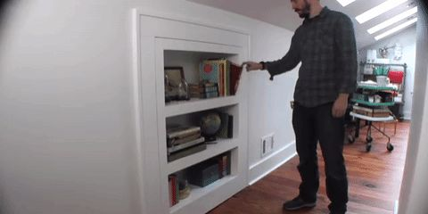 Access to a crawlspace or attic is made more fun by building this covert door.​​