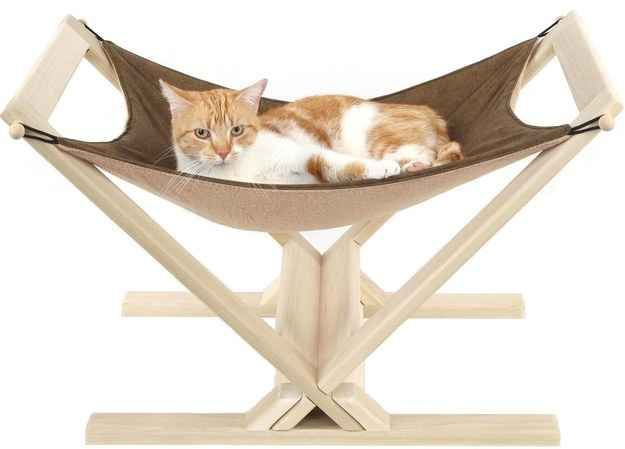 Let your cat unwind with the purrfect nap in this fleece hammock.