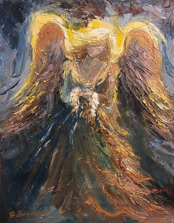 This painting is on layaway for Carol. This listing is the third payment of  $100 after which the balance of $100 will r… | Angel painting, Angel art,  Angel pictures