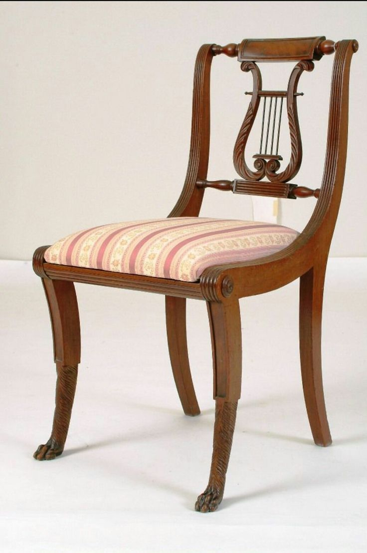 This israel sack american federal mahogany antique lolling arm chair - Rare Important Early C American Federal New York Duncan Phyfe Lyre Back Hairy Paw Carved Feet Classical Mahogany Side Chair Circa Original Surface