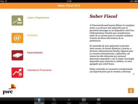 Aplicación para consultar leyes fiscales mexicanas 2012 editadas y compiladas por PwC México.