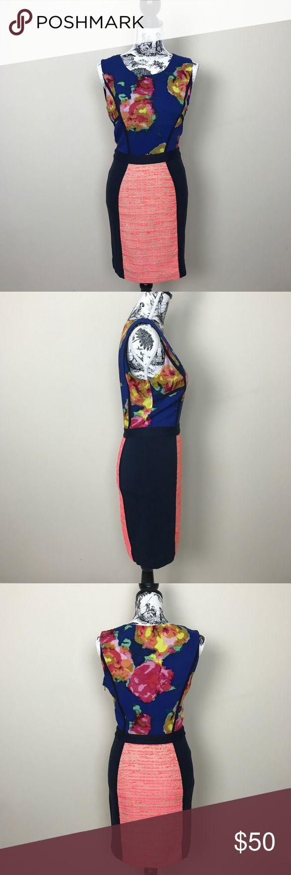 "RACHEL Rachel Roy Mixed Fabric Sheath Dress RACHEL Rachel Roy Dress with mixed fabric. Upper floral print with neon skirt. Side concealed zipper. Upper 100% viscose lower 60% polyester, 40% acrylic. Length measures 35.5"", bust 17"", waist 13"". RACHEL Rachel Roy Dresses Mini"