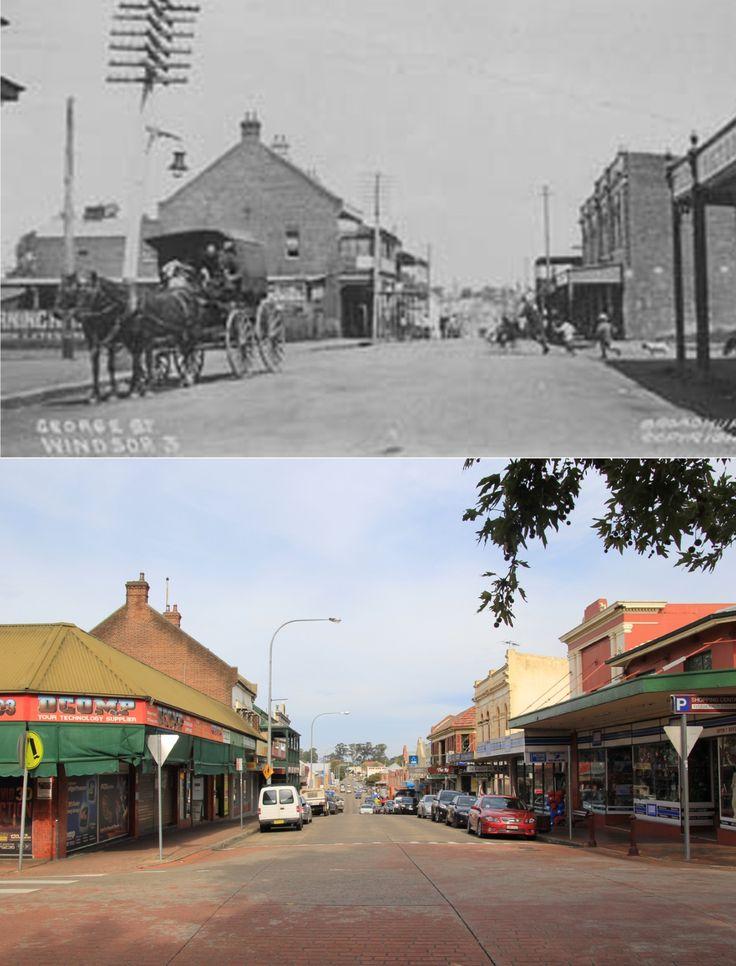 George Street, Windsor NSW AUSTRALIA. Top image c.1900, bottom image 2015.