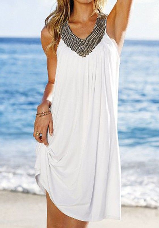 White Plain Pleated Sequin Outdoors Mini Dress - Dresses