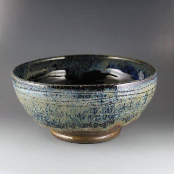 Dark Waterfall Glossy Ceramic Hand Carved Unique Ceramic Bowl Ceramic Bowls Unique Ceramics Ceramic Pottery