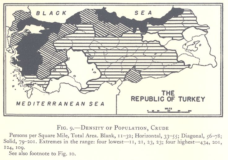 """Density of Population of Turkey in 1927. Published in 1935, """"The Turkey of Ataturk"""" by Donald Everett Webster"""