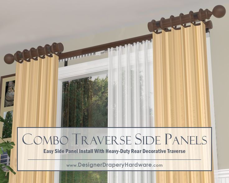 http://www.designerdraperyhardware.com/decorative-traverse-rods/?pg=1&ctmCb=1 Super easy double treatment with side panel poles. Install both rods on the same brackets and speed up your installation. Decorative finials or end caps for the interior edge of each side panel pole. #homedecorinspiration #interiordesign #windowtreatments #windows #designideas #drapery #curtains #draperies #curtainrods #homedecor #draperyhardware #draperyrods