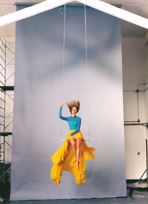 Yellow skirt. Photographed by Tim Walker.
