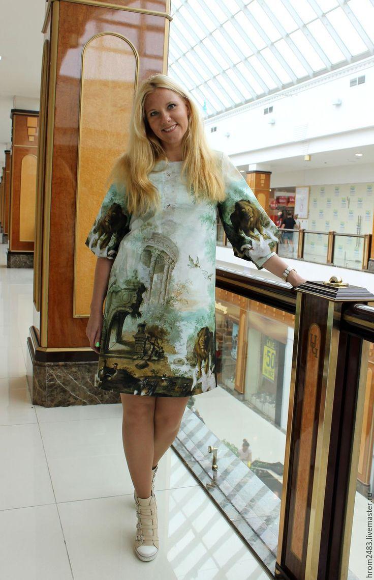 """Купить Платье из хлопка """" Книга джунглей"""" - зеленый, рисунок, платье, платье с рукавами"""
