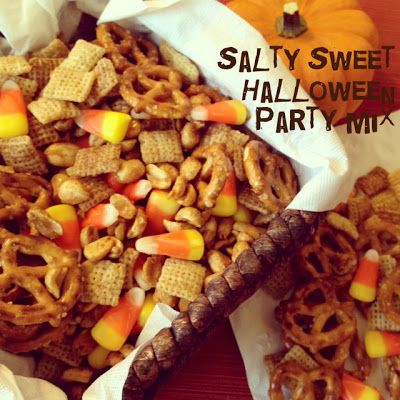 Salty Sweet Halloween Chex Party Mix. No corn syrup and ADDICTIVE. This stuff should be called Halloween crack.