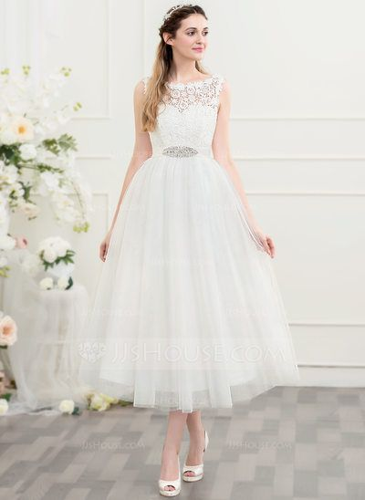 [US$ 99.99] A-Line/Princess Scoop Neck Tea-Length Tulle Wedding Dress With Beading Sequins (002107549)