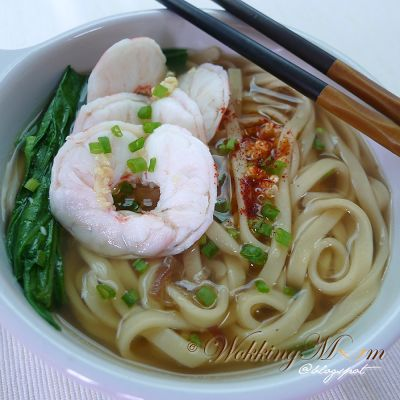 Yellow Noodle Soup with Prawn