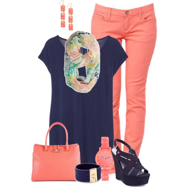 Coral  Navy, created by maggie478 on Polyvore