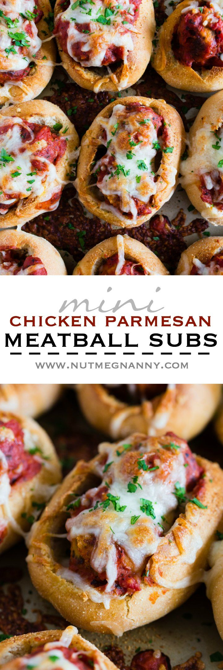 These mini chicken Parmesan meatballs subs totally step up your game day food! Stuffed with homemade chicken Parmesan meatballs, tomato sauce and topped with lots of melty mozzarella cheese. Crazy delicious and ready in under an hour!