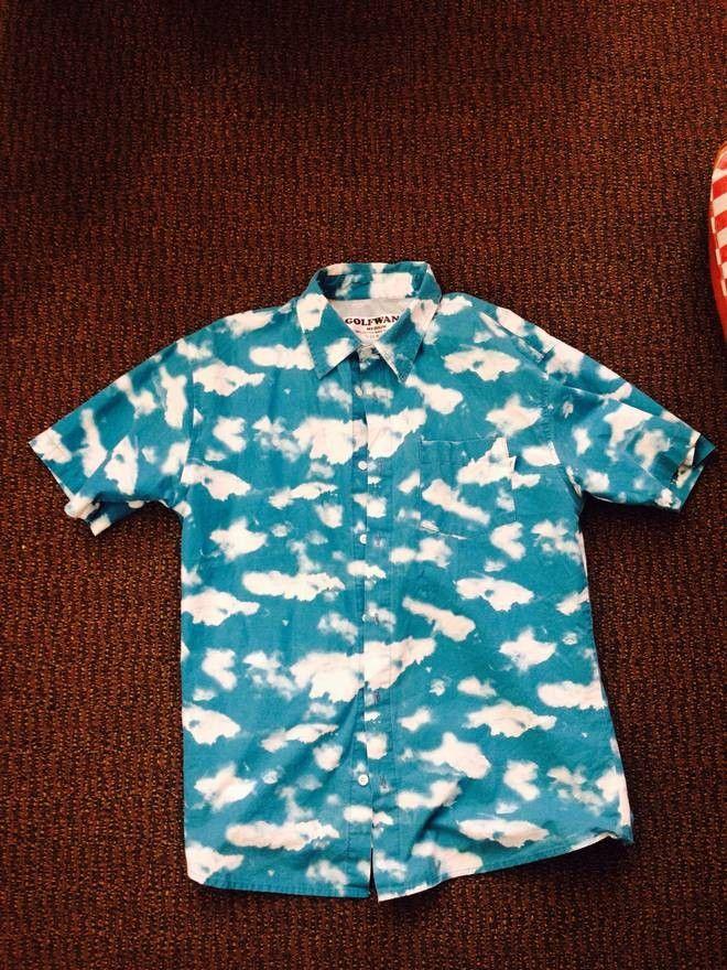 40998fa56 Golf Wang white clouds blue sky short sleeve button up shirt | my ...