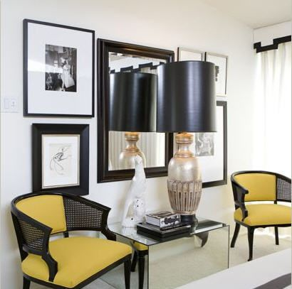 Yellow and black foyer by David Jimenez: David Jimenez, Canes Chairs, Idea, Interiors Design, Black White, Hollywood Regency, Black Rooms, Yellow Chairs, Chairs Design