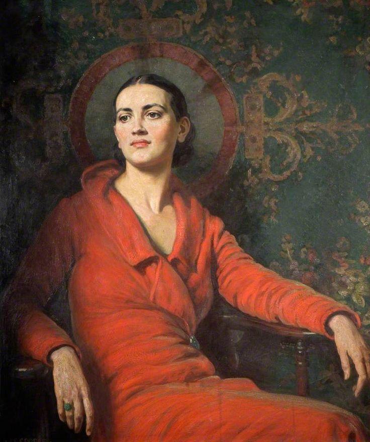 Alfred Egerton Cooper (1883-1974) Lady in Red Velvet (Wolverhampton Art Gallery)