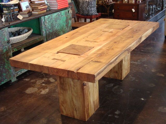 Rustic Dining Table Designs | Rustic Block Acacia Wood Dining Table