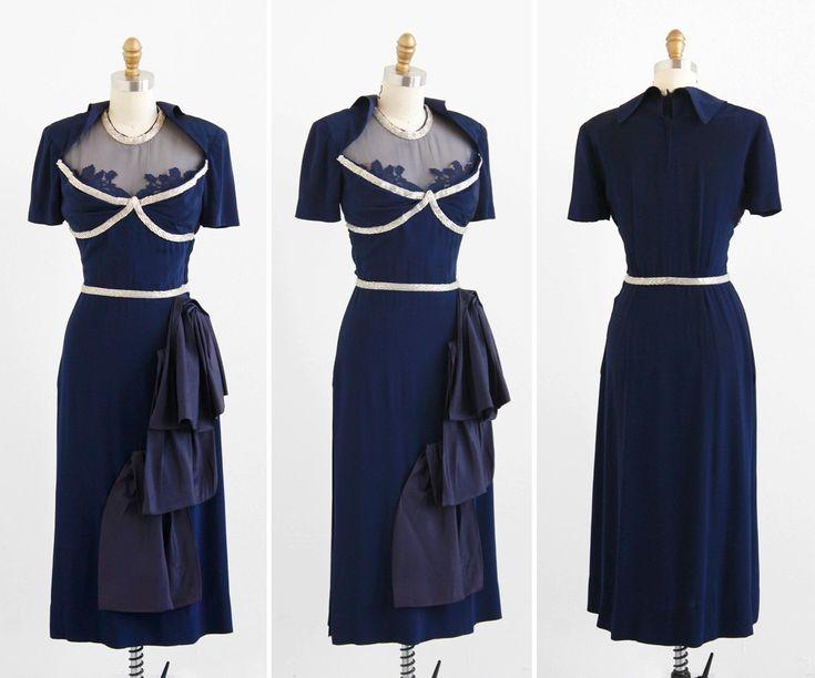 r e s e r v e d - vintage 1940s dress / 40s dress / Navy Blue Beaded Illusion Neckline Evening Dress with Hip Swag / custom designer couture. $392.00, via Etsy.