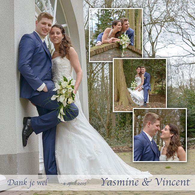 Dankkaartje huwelijk, trouwkaartje bedanking, huwelijksfoto's, huwelijksfotograaf, trouwfoto's.