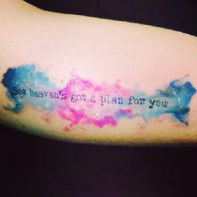 "39 Pretty Watercolor Tattoo Ideas That Ll Convert Even The: ""See Heaven's Got A Plan For You"" Watercolor Tattoo"