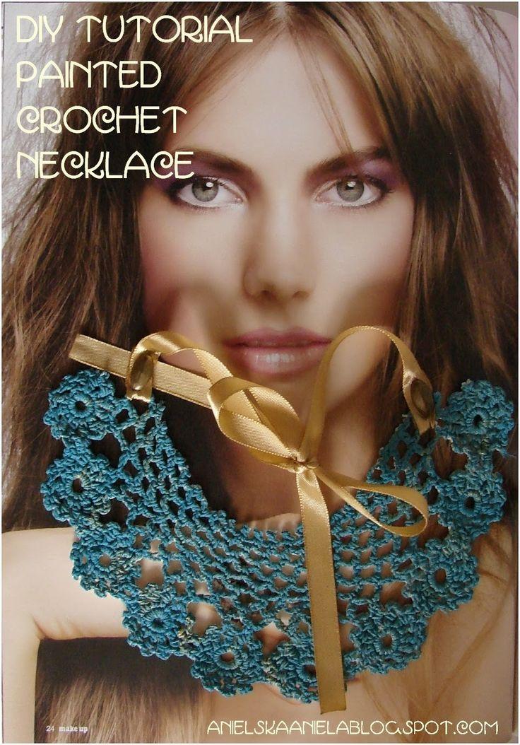 DIY TUTORIAL...Painted crochet necklace...malowany, szydełkowy naszyjnik z serwetki...