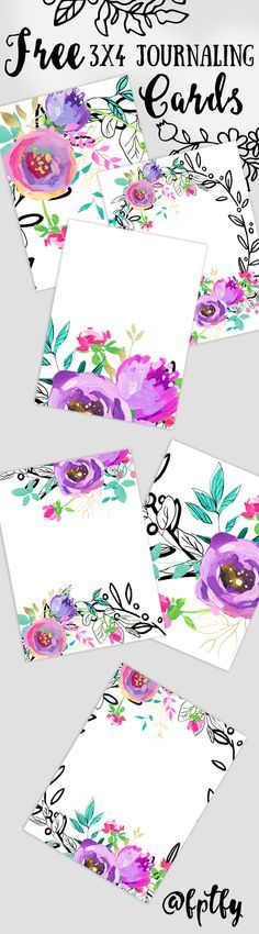 Free Printable Mint & Purple 3x4 Journaling Cards from Free Pretty Things for You