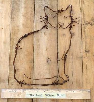 Cat Western Lodge Southwestern Ranch Kitten Wall Decor Country Barbed Wire Art | eBay