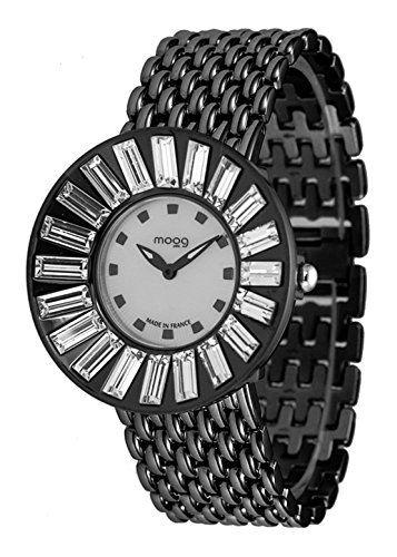 Moog Paris-Sunshine Damen-Armbanduhr Zifferblatt silber Armband schwarz Stahl, hergestellt in Frankreich-m45344-004 - http://uhr.haus/moog-paris/moog-paris-sunshine-damen-armbanduhr-silber-in-2