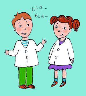 Dibujo de dos niños con guardapolvo blanco hablando