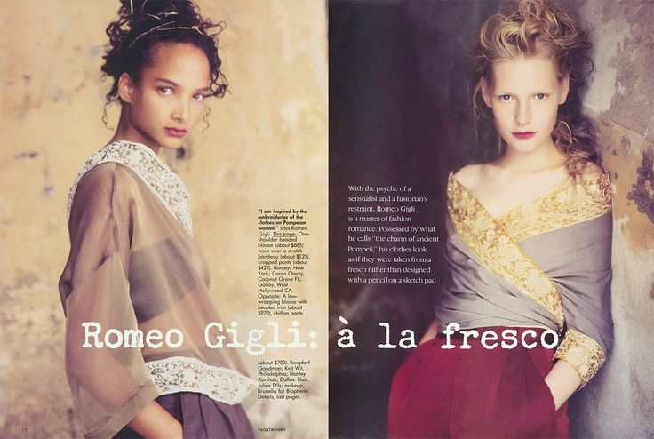 "Jennifer Noble and Kirsten Owen by Paolo Roversi in ""Romeo Gigli: a la fresco"" for Vogue US November 1998.  www.fashionspreads.com"