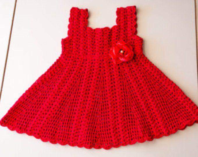 ESPECIAL ocasión vestido - vestido de bebé, bebé bautizo vestido, vestido de ganchillo rojo