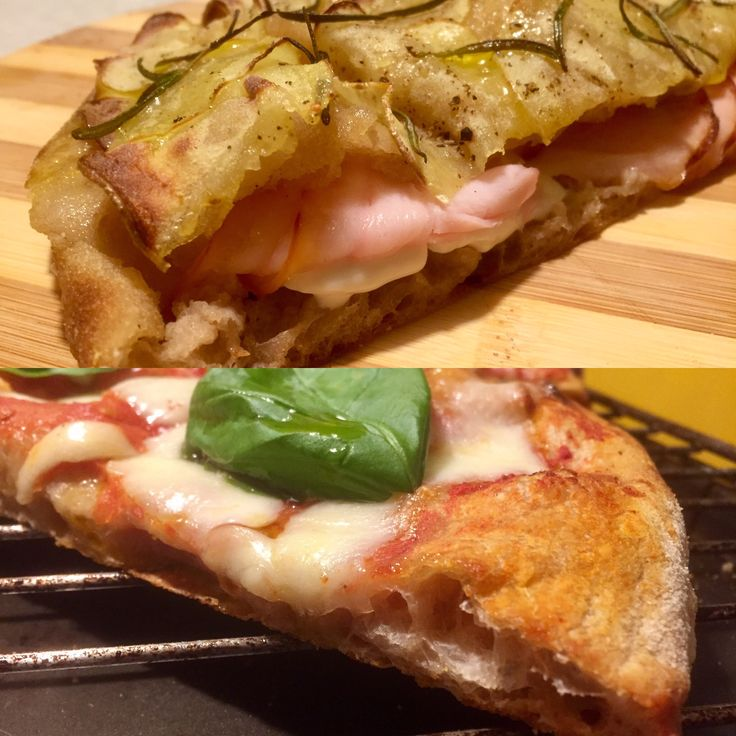 """Great thing the Roman pizza pan.  Dough of 72 hours with type 1 flour """"ViVa - La Nostra Farina é:"""", 85% of hydration.  Over a stuffed in potato crust with Porchetta, Mozzarella and Stracchino cheese, inspired by the eternal Pizzeria Sancho Fiumicino, Italian heritage.  Under the inevitable Regina Margherita, topped in the only way globally acceptable: San Marzano tomatoes Agro Sarnese-Nocerino DOP, Fiordilatte Agerola, fresh basil and extra virgin olive oil.  Ready for New Year. Enjoy your…"""