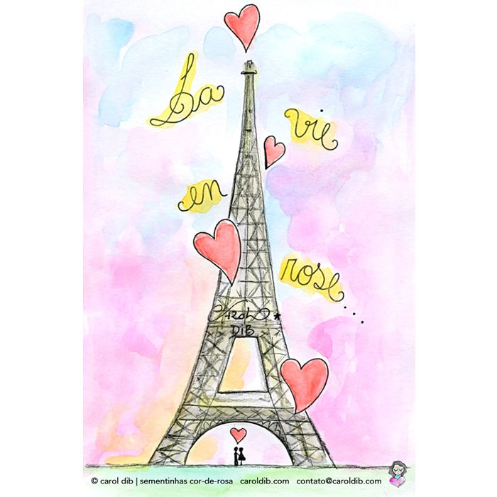 La Vie En Rose - Edith Piaf. Ilustração de Carol Dib | #illustration #toureiffel #eiffeltower #torreeiffel