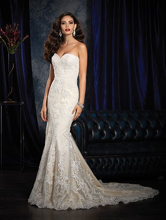 Alfred Angelo Style 982: sheath wedding dress with sweetheart neckline, laser cut lace and crystal beading