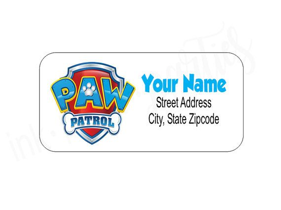 Paw Patrol Address Labels Return Address Labels by InkPaperParties