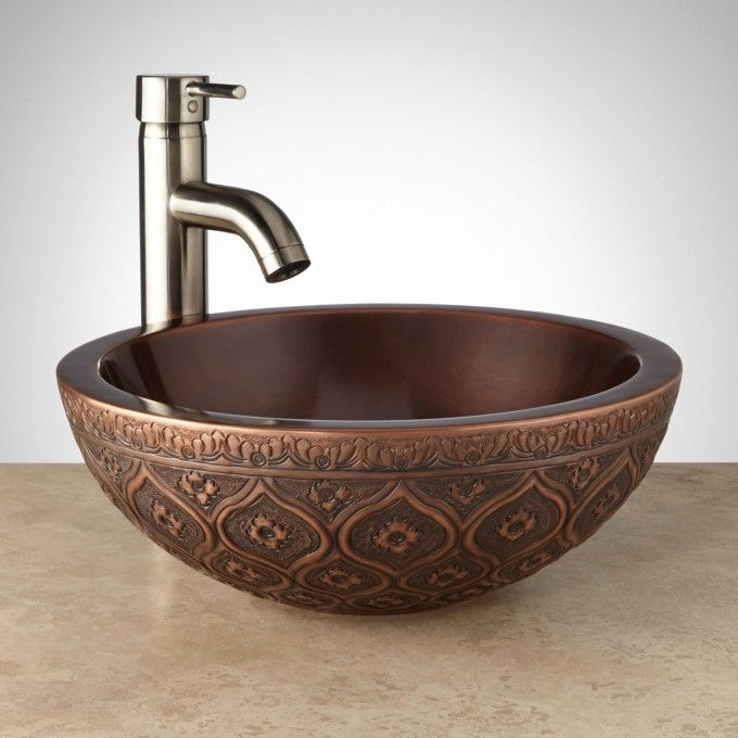 "signaturehardware.com - $150.  goes with copper faucet. 14"" Nilofar Double-Wall Copper Vessel Sink"