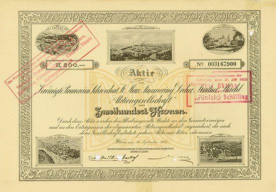 HWPH AG - Historische Wertpapiere - Vereinigte Brauereien Schwechat, St. Marx, Simmering-Dreher, Mautner, Meichl AG / Wien, 30.09.1913, Aktie über 200 Kronen