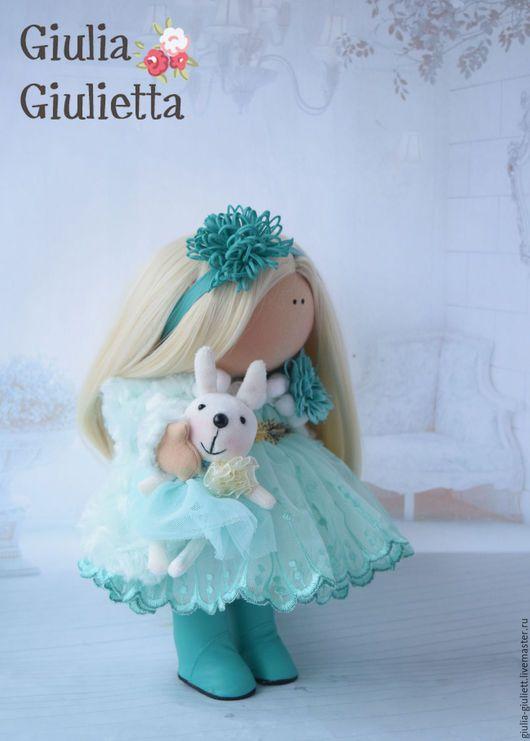 Коллекционные куклы ручной работы. Ярмарка Мастеров - ручная работа. Купить Интерьерная куколка. Handmade. Мятный, повязка на голову, зайка