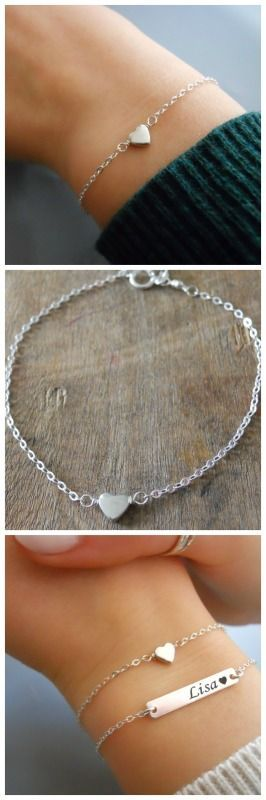Delicate sterling silver heart bracelet. Perfect for layering with more bracelets.